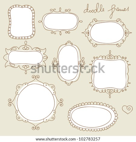 collection of hand drawn doodle frames - stock vector