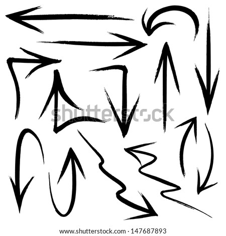 Collection of hand drawn doodle style arrows in various directions and styles - stock vector