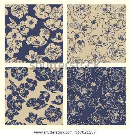 Collection of Hand-drawn floral wallpapers, 4 Seamless patterns. Elegant Classic Blue & deep Beige - stock vector