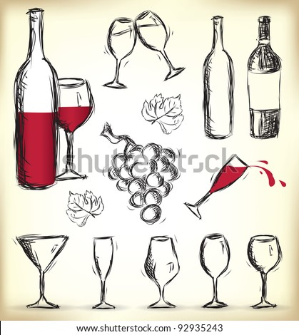 Collection of hand-drawn glasses, bottles of wine and grapes - stock vector
