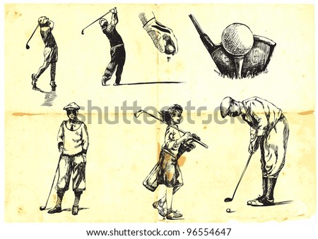 collection of hand-drawn Golf (drawing with a hard tip marker on vintage paper) - stock vector