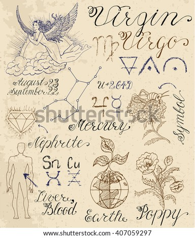 Collection of hand drawn symbols for astrological zodiac sign Virgin or Virgo. Line art vector illustration of engraved horoscope set. Doodle drawing and sketch with calligraphic lettering - stock vector