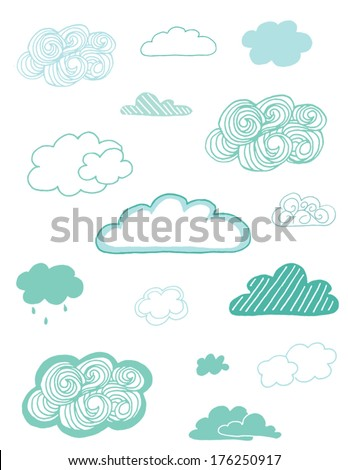 Collection of Hand Drawn Vector Clouds  - stock vector