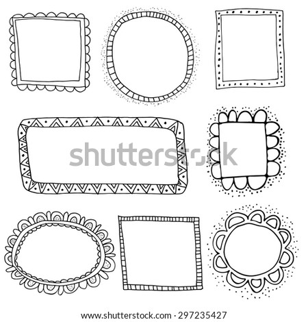 Collection of hand drawn vector frames - stock vector