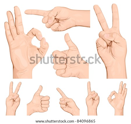 Collection of hand gestures.vector illustration. - stock vector