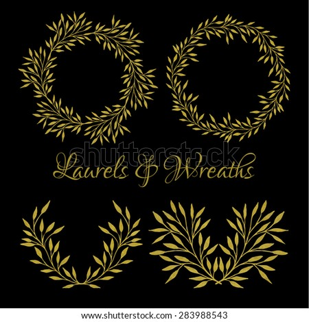 Collection of handdrawn watercolor laurels and wreaths on black background in shades of gold. Save the date, wedding or invitation card design elements. Floral wreath with copyspace for your text.  - stock vector
