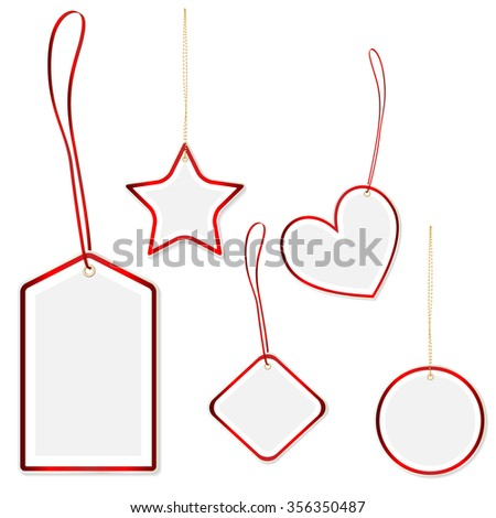 Collection of hanging price tags with red border and decent shadow - isolated on white background. Vector illustration. - stock vector