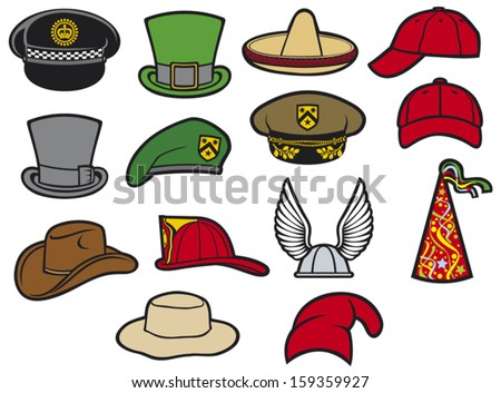 collection of hats (gaelic helmet with wings, military beret, firefighter helmet, saint patrick's day leprechaun hat, sombrero, cowboy hat party hat, birthday hat, baseball cap, military hat)  - stock vector