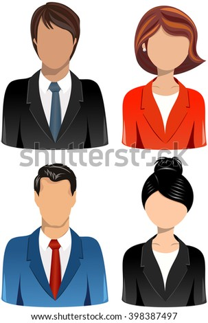 Collection of Head and shoulder business people icons isolated - stock vector