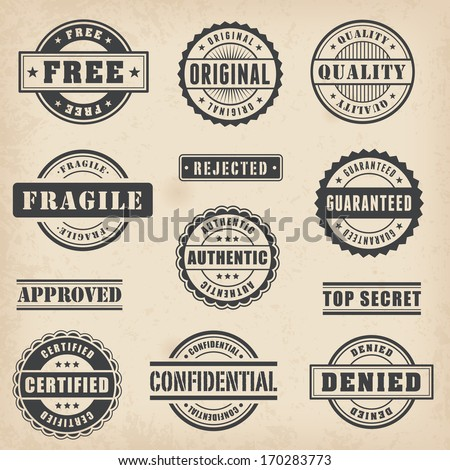 Collection of Hi detail commercial stamps - stock vector