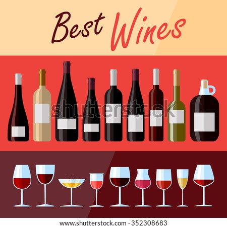 Collection of high quality premium wines. Flat design illustration of wine bottles and glasses with various types of wine - stock vector