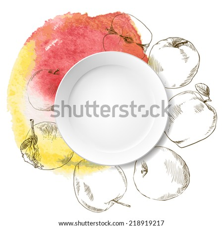 Collection of highly detailed hand drawn apples watercolor. - stock vector