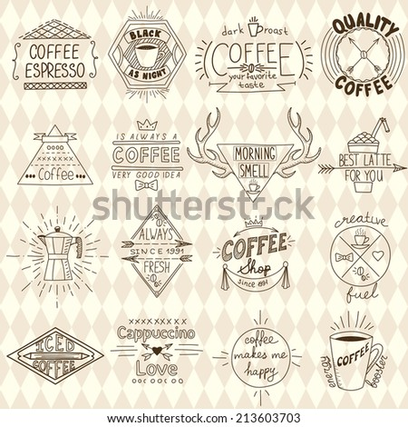 Collection of hipster sketchy coffee labels. Vector illustration - stock vector