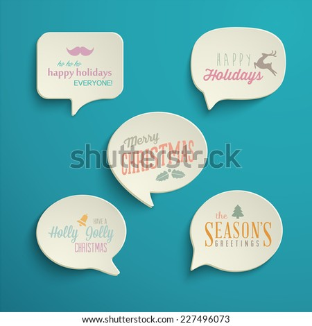Collection of Holiday Speech Bubbles with various messages. Vector Illustration  - stock vector