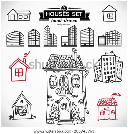 Collection of home apartments. Sketch vector set of houses in doodle style - stock vector