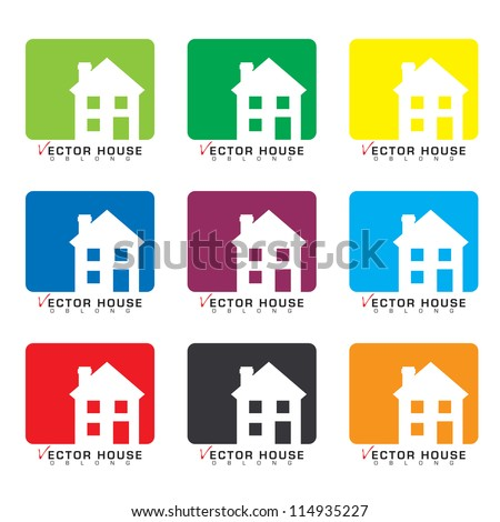 Collection of house icons with rainbow set of colors - stock vector