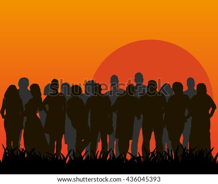 Collection of huge crowds of people - each silhouette is separate and can be used individually,vector - stock vector