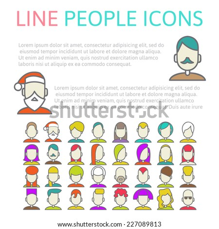collection of human heads, set user line icons, vector illustration - stock vector
