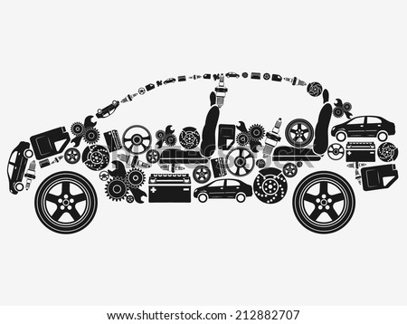 Collection of icons arranged in the shape of the car. The concept of automotive subjects. Vector illustration. - stock vector