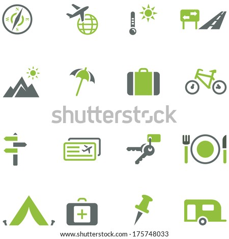 Collection of icons for travel, tourism and active recreation. All elements are on separate layers. Possible to easily change the colors and size without losing image quality. - stock vector
