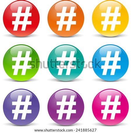 collection of icons of different colors for hashtag - stock vector