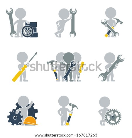 Collection of icons of people flat on mechanics. Vector illustration. - stock vector