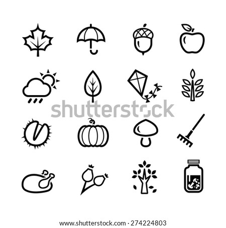 Collection of icons representing autumn season and autumn activities. - stock vector