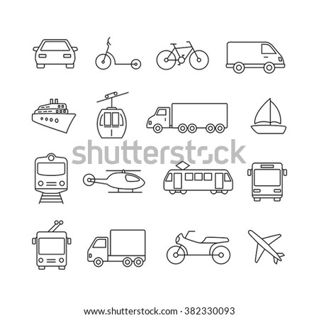 Collection of icons representing cars, vehicles, transportation, travel. - stock vector