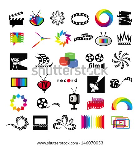 collection of icons tv, video, photo, film - stock vector