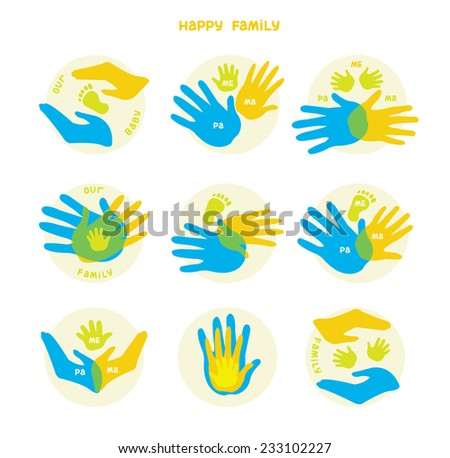 Collection of icons with human hands. Vector set with signs of love and care in family. - stock vector