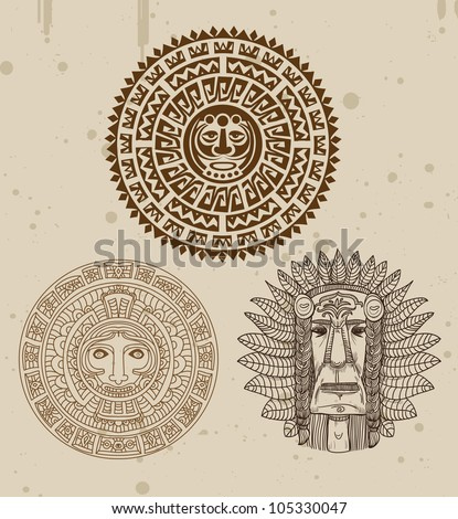 collection of indian tattoos with maya faces - vector illustration - stock vector
