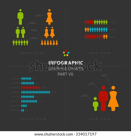 collection of Infographic people elements for your documents and demographic reports, part 7 of my infographic bundle, dark version