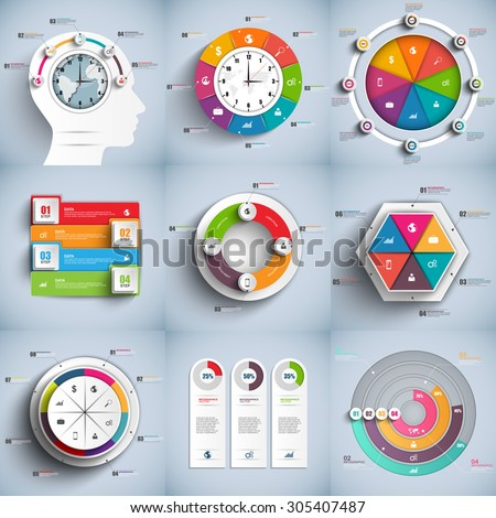 Collection of infographic vector design template. Can be used for workflow processes, banner, diagram, number options, work plan, web design. - stock vector