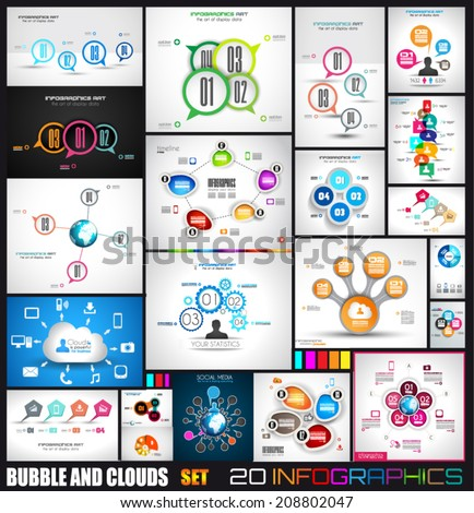 Collection of 20 Infographics with bubbles and clouds. Flat style UI design elements for your business projects, seo diagrams and solution ranking presentazions - stock vector