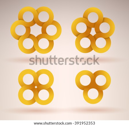 Collection of intersecting ribbons creating different numbers of circles - stock vector