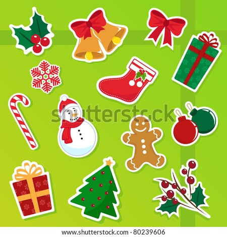 collection of isolated christmas icons - stock vector