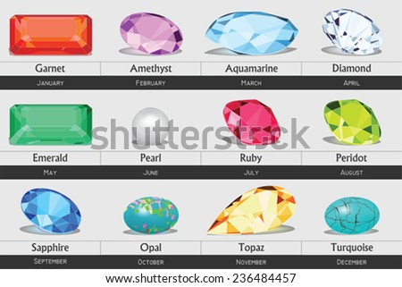 Collection of isolated gemstones by month, no gradients  - stock vector