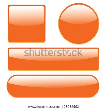 Collection of isolated, glossy buttons in different shapes vector. - stock vector