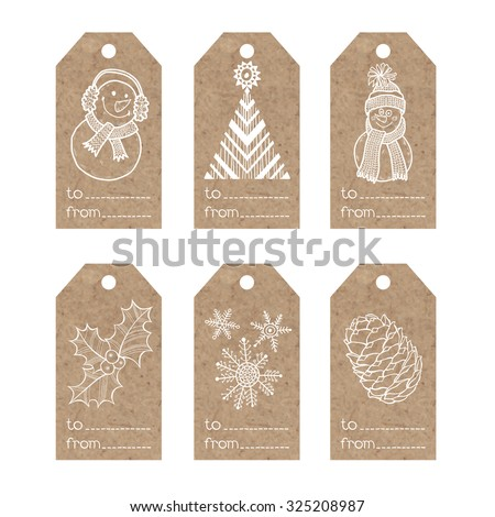 Collection of  kraft paper tags with  christmas motifs - stock vector