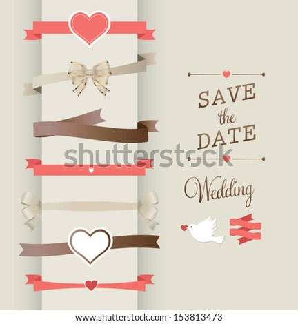 Collection of Labels and vector element with retro vintage styled design. wedding design elements - stock vector