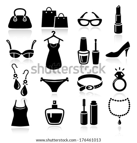 Collection of Ladies Shopping Icons - stock vector
