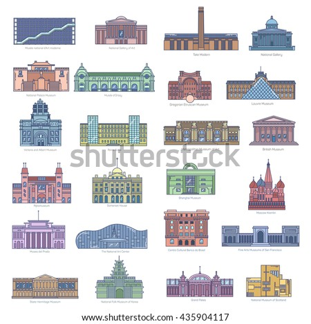 Collection of landmarks and museums, art galleries and national center and cultural historic places for traveling and folk tourism in England, Brazil, France, Scotland, Moscow, San Francisco, Korea - stock vector