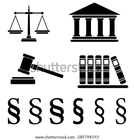 Collection of law icons isolated on white background, vector illustration - stock vector