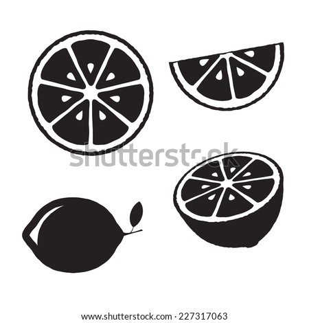 Collection of lemons, icons set, black isolated on white background, vector illustration. - stock vector