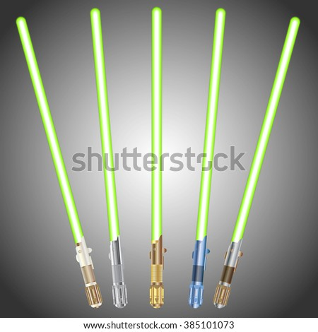 Collection of Light saber blade, Energy sword. Set of futuristic science fiction Metallic energy weapon. Icons. Metal concept colors. Isolated Vector Illustration. - stock vector