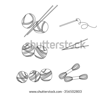 Collection of linear balls of yarn for knitting. Outline yarn. Handmade and knit, wool and needle, yarn ball, vector illustration. Vector set of outline yarn ball,needles for knitting. Needle isolated - stock vector
