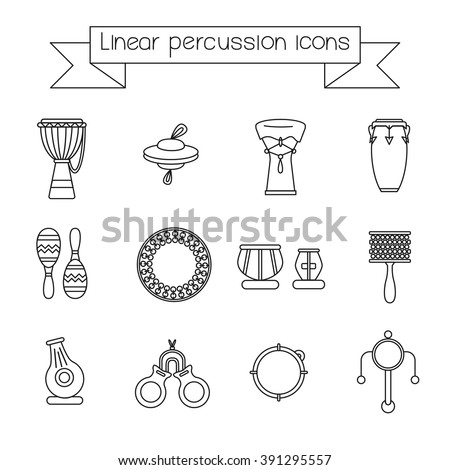 Collection of linear icons of traditional for folk music percussion instruments. - stock vector