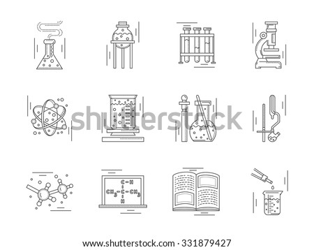 Collection of linear vector icons and signs for chemistry. Laboratory equipment, symbols for research and education. Design elements for business and website. - stock vector