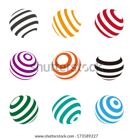 Collection of lines ball vector logo template. Abstract globe symbol, isolated round icon,  colorful business concept .You can use science and technology, tourism or environmental background.  - stock vector