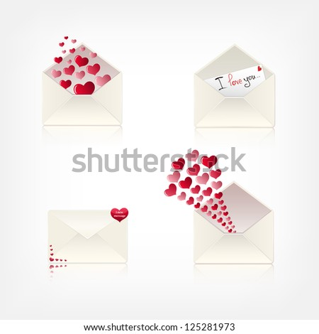 collection of love envelopes. eps10 - stock vector
